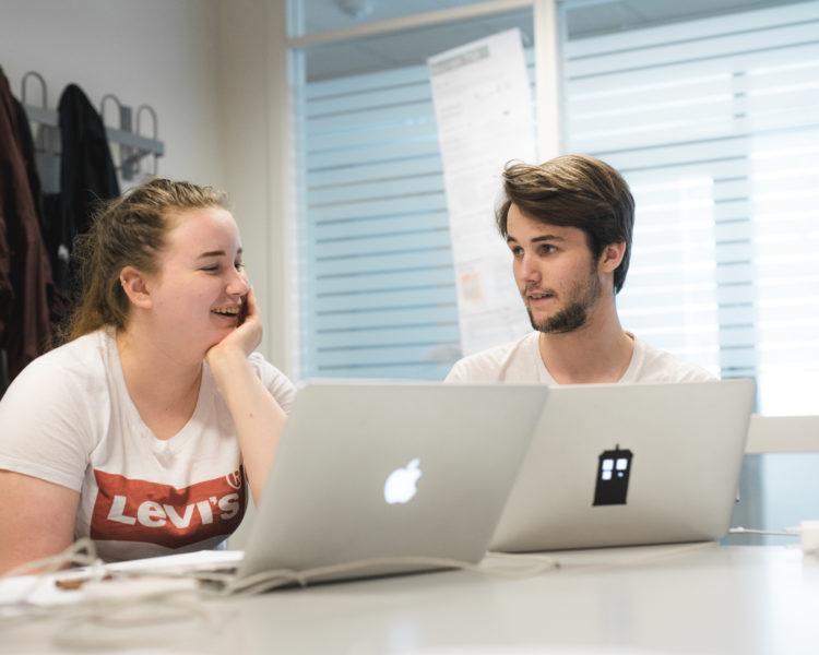Elever i 3MK jobber med eksamen. foto.