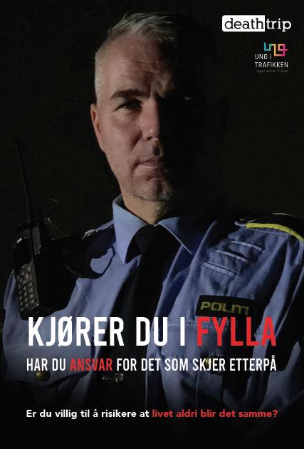 """Plakat politi """"Kjører du i fylla har du ansvaret"""". holdningskampanje rus i trafikken. Plakat."""