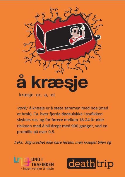 """Oransje plakat """"å kræsje"""". holdningskampanje rus i trafikken. Plakat."""